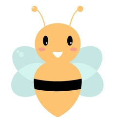 Cute beautiful yellow bee isolated on white vector image