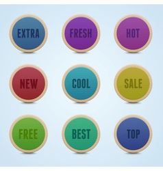 Detailed rounded stickers vector