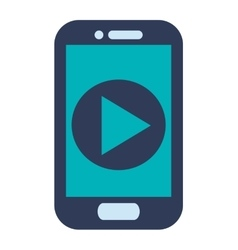 Blue cellphone play icon vector