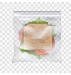 Ham and vegetable sandwich in transparent sealed vector