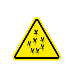 Attention mosquito midge in yellow triangle vector