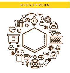 Beekeeping line icon label emblem vector