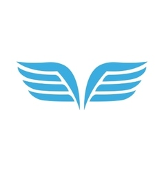 Blue wings with feathers icon simple style vector