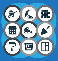Building icons set collection of carry cart vector