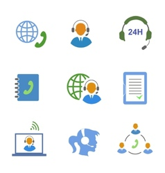 Call center service icons set of contacts mobile vector