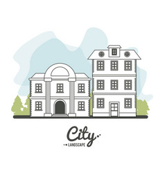 City landscape bank and classic house story line vector