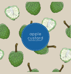custard apple or sugar apple seamless pattern vector image
