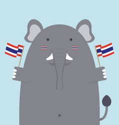 cute fat big elephant holding Thai flag vector image vector image