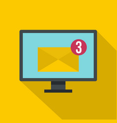 Email messages on computer monitor icon vector