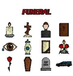 Funeral flat icon set vector