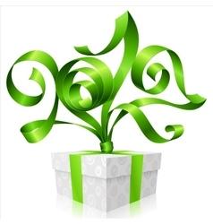 green ribbon and gift box Symbol of New Year 2017 vector image