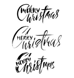 Hand drawn calligraphy set merry christmas vector