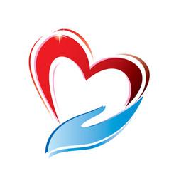 heart and hand vector image vector image