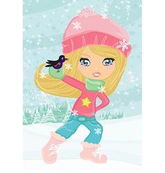 Little girl holding a bird vector