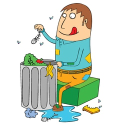 Man eating from trash vector image