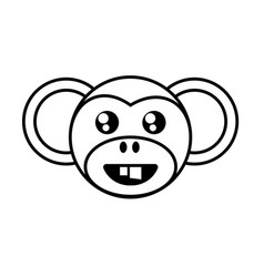 monkey face animal outline vector image vector image