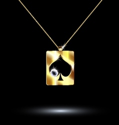Pendant card suit spades vector