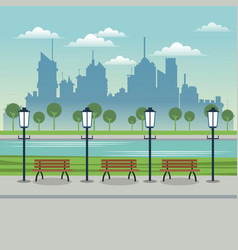 Post lamp bench urban background vector