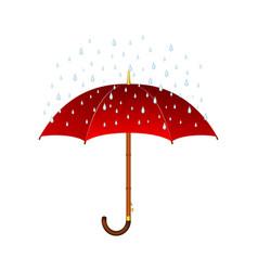 Red umbrella and rain vector