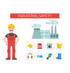Safety industrial man gear tools flat vector