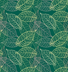 seamless leaves green background vector image