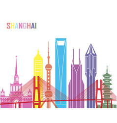 shanghai v2 skyline pop vector image