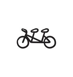 Tandem bike sketch icon vector