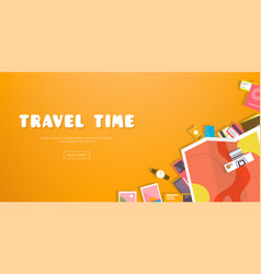travel time horizontal advertising banner on vector image vector image