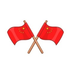 Two crossed flags of china icon cartoon style vector