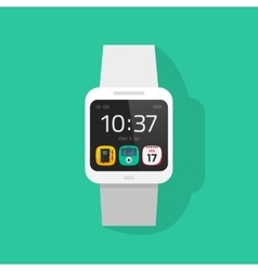White smart watch clock vector image vector image