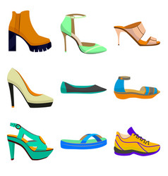 woman shoes set in cartoon style vector image