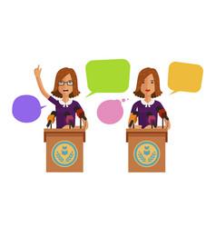 woman speaks from podium tribune business vector image vector image