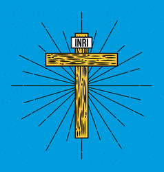 wooden hand drawn cross inri text vector image