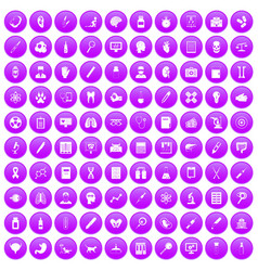100 diagnostic icons set purple vector