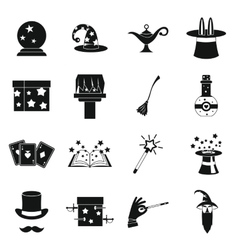 Magic icons set simple style vector