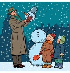 Children and male mold snowman vector