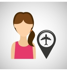 airport pointer map girl design icon vector image