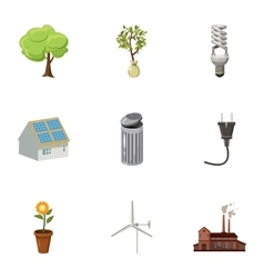Conservation icons set cartoon style vector