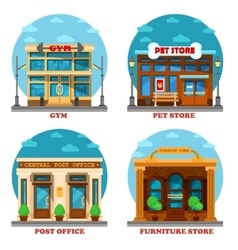 Pet shop and furniture store post office gym vector