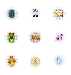 Wedding celebration icons set pop-art style vector