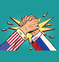 Usa vs russia arm wrestling fight confrontation vector