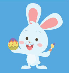 Bunny painting egg easter theme vector