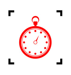 Stopwatch sign   red icon vector