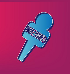 Tv news microphone sign   blue vector