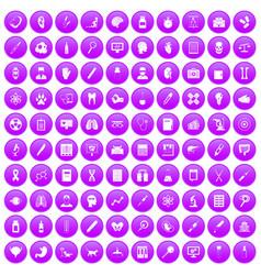 100 diagnostic icons set purple vector