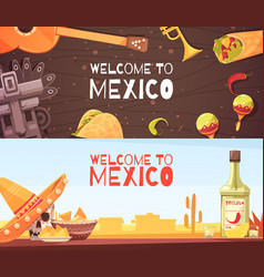 Welcome to mexico horizontal banners vector