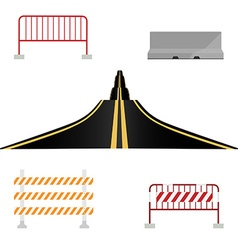 Asphalted road and barriers vector