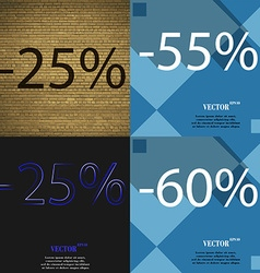 55 25 60 icon set of percent discount on abstract vector