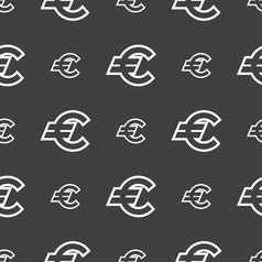 Euro eur icon sign seamless pattern on a gray vector