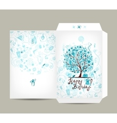 Greeting envelope design female birthday tree vector